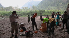 Jungle cave trekking - stock footage