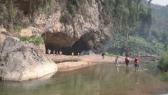 Jungle cave trekking Stock Footage