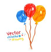 Felt pen childlike drawing of balloons - stock illustration