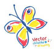 Childlike drawing of butterfly - stock illustration