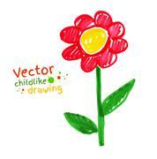 Childlike drawing of flower - stock illustration