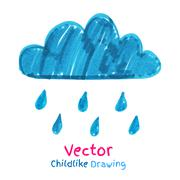 Childlike drawing of rainy cloud - stock illustration