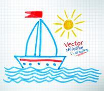 Childlike drawing of ship - stock illustration