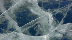 Deep Blue Ice breaks dolly shot Baikal - stock footage