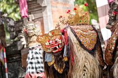 Barong dance mask of mythological animal, - stock photo