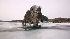 Stone rock in the middle of Lake Baikal Stock Footage