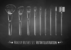 Makeup brushes kit Stock Illustration