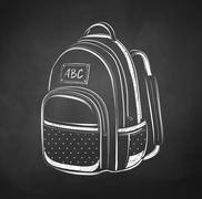 Chalkboard drawing of school bag Stock Illustration