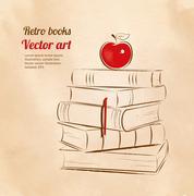 Apple on books Stock Illustration