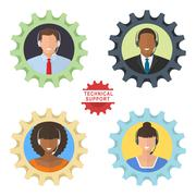 Four technical support flat illustrations Stock Illustration