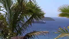 Cruise Ship South Pacific Tropical Island - stock footage