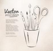 Artist tools in holder Stock Illustration