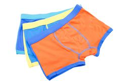 Children's swimming shorts isolated on white background. - stock photo