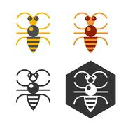 Abstract bee flat vector element. - stock illustration