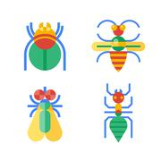 Four abstract colored insects. - stock illustration