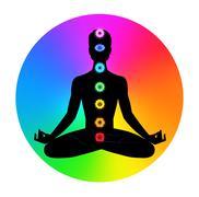 Man. Meditation - stock illustration