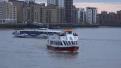 London Thames clipper and city cruise boats Stock Footage