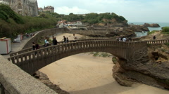 France - Biarritz Stone Bridge  Stock Footage