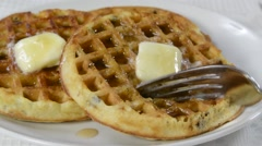 Waffles, A forkful of waffle being eaten Stock Footage