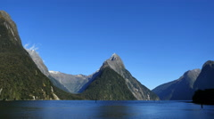 New Zealand Milford Sound Mitre Peak distant flank and cirque Stock Footage