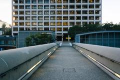 Bridge and modern building in downtown Los Angeles, California. Stock Photos