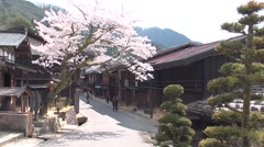 Cherry blossoms at Tsumago Post Town, Nagano Prefecture, Japan Stock Footage