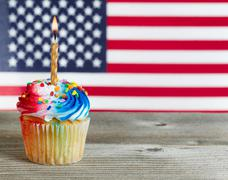 Cupcake decorated in Fourth of July holiday colors - stock photo