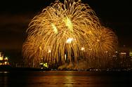 Stock Photo of Fireworks over the water