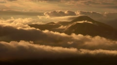 Low moving clouds and mountainscape, Hokkaido, Japan - stock footage
