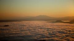 Fog at dawn over Lake Kussharo, Hokkaido, Japan Stock Footage
