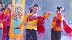 Traditional Isan Dance at Songkran,Ubon Ratchathani,Thailand Stock Footage