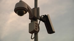 Static cctv camera, sky Stock Footage