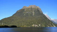 New Zealand Milford Sound crested peak near Mitre Peak Stock Footage
