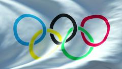 olympic game flag waving seamless loop  4K - stock footage