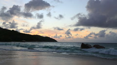 Sunset on the beach of Anse Lazio. Time Lapse Stock Footage