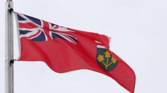 Ontario Canadian Provincial Flag flying- close up Stock Footage