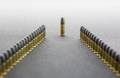 Two rows of cartridges and a chief - stock photo