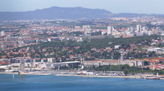 Panoramic view of Lisbon skyline, docks and the Tagus River, Lisbon, Portugal Stock Footage