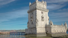 Belem Tower is a fortified tower located in the civil parish of Santa Maria de - stock footage