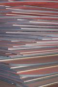 Industry steel, Stack of product steel, Steel plate. Stock Photos