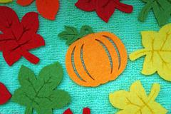 Pumpkin and colorful Maple leaves out of felt on a light green fabric  Stock Photos