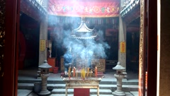 In the temple to burn incense to worship the Buddha Stock Footage