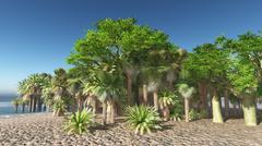 Lush oasis landscape on desert - stock illustration