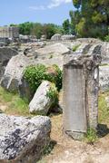 Building remains at ancient Olimpia archaeological site in Greece - stock photo