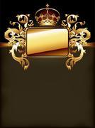 ornate golden frame - stock illustration