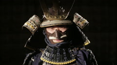 Samurai opens his sword Stock Footage