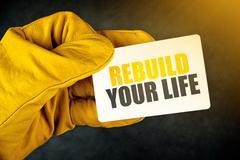 Rebuild Your Life on Business Card Stock Photos