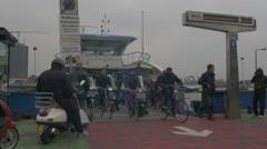 Amsterdam HD ferryboat people Stock Footage
