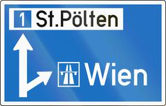 Direction Sign To Motorway in Austria Stock Illustration