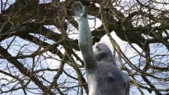 Tilt Up Cast Iron Statue Sculpture Art - Woman Stretching Arms - Blue Sky Tree Stock Footage